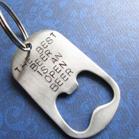 Personalized Bottle Opener Keychain- Hand Stamped Steel Dog Tag