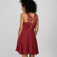 Burgundy Crochet Back Dress