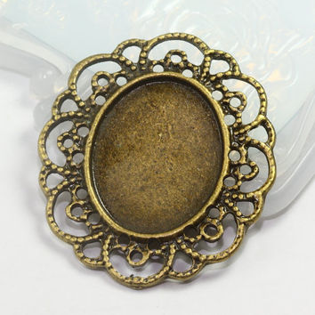 Antique Bronze Oval Pendant Bezel Setting, Cameos Settings, Vintage Style Big Bezel Blanks, Pendant Tray, Cameo Settings, 41mm x 35mm