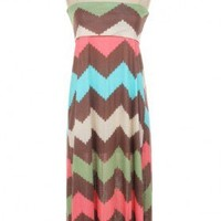Strapless Chevron Maxi Dress