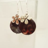 Mother of Pearls Earrings, Flower Earrings, Brown Mother of Pearls Earrings, Brown Earrings