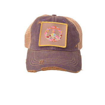 Judith March Peace Sign Hat (Purple)