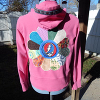 Pink Grateful Dead Steal Your Face Upcycled Zip Up Hoodie with Vintage Flower Trim  OOAK Size XL Patchwork Mandala Hippie clothes