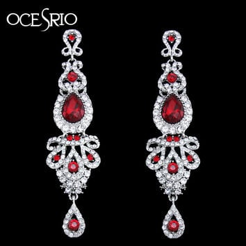 Trendy Zinc Alloy Crystal Drop Earrings Women Ers-h41