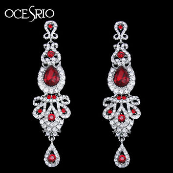 Big Crystal Red Earrings Long women pendant earrings long hanging earrings with stones jewelry gifts pendientes mujer ers-h41