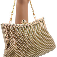 Evening Purses-Vintage Style Gold Beaded Clutch Style Evening Bag w Rhinestone Accents