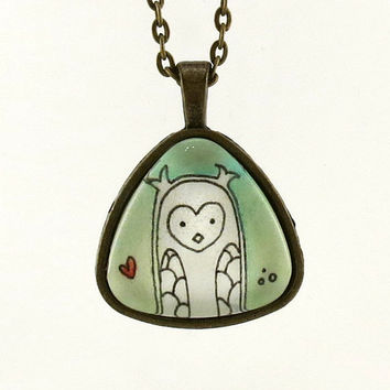 Owl Necklace Original Watercolor Painting Art by cellsdividing