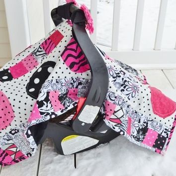 65% Off Clearance PATTERN, Car Seat Cover, Baby Quilt, Quilted, Applique, Mod Dot, Mailed