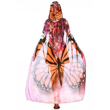 Orange Mesh Butterfly Hooded Cape Robe Cosplay Dance Costume Rave Wear Halloween
