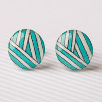 Aqua and White Striped Post Earrings
