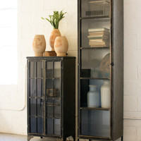Tall Iron & Glass Apothecary Cabinet