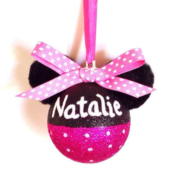 Handmade Personalized Pink Minnie Mouse Glitter Ornament with Polka Dot Bow