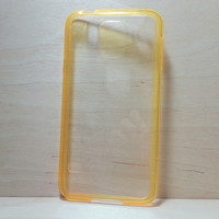 For Samsung Galaxy S5 Orange Silicone Bumper and Clear Hard Acrylic Case
