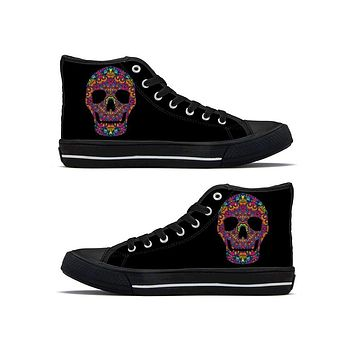 Rainbow Skull - High Top Canvas Shoes