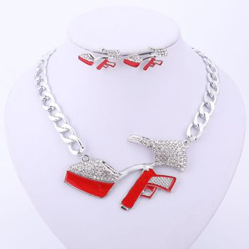 Sexy Women Jewelry Sets High Heels Gun Pendant
