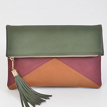 Triangle Envelope Olive Clutch