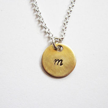 Initial Necklace . Gold Disc Necklace . Personalized Jewelry . Large Initial Charm Necklace. Celebrity Inspired Jewelry, mixed metals