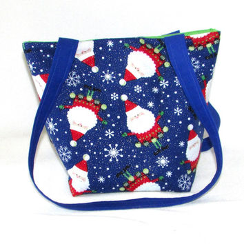 Santa Claus Purse, Small Tote Bag, Snowflake Purse, Blue, Holiday Handbag, Fabric Bag, Cloth Purse, Shoulder Bag
