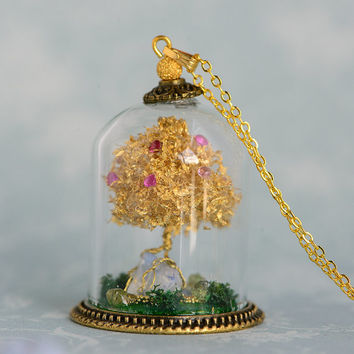 Ruby Terrarium Necklace Wearable Art, Miniature Birthstone and Gold Leaf Bonsai Tree of Life in a tiny Hand Blown Glass Cannister or Cloche