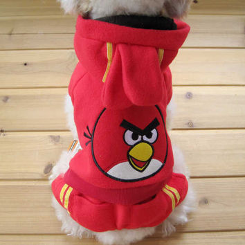Dog Fashion Pet Clothing Two Piece RED Angry Birds Jacket for Pet Accessories-Size 5