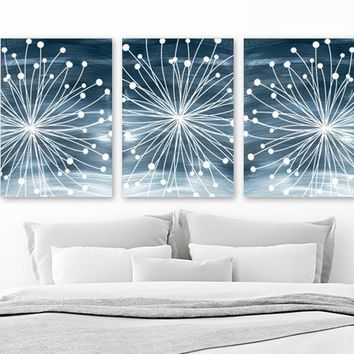 WATERCOLOR Wall Art, Watercolor Dandelion Art, Navy Bedroom Wall Decor, CANVAS or Prints, Dandelion Navy Bathroom Decor, Set of 3 Wall Decor
