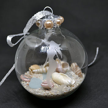 Mermaid Etched Ornament, Mermaid Ornament, Beach Ornament, Mermaid Lover, Sea Glass Ornament, Coastal Christmas, Seashell Ornament