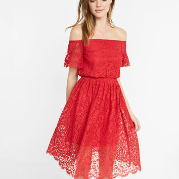 Off The Shoulder Smocked Lace Dress
