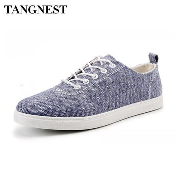 Tanngnest NEW Men Canvas Shoes Solid Lace Up Casual Men's Vulcanize Shoes Classic Youth Outside Footwear Man Flat Shoe XMR2647