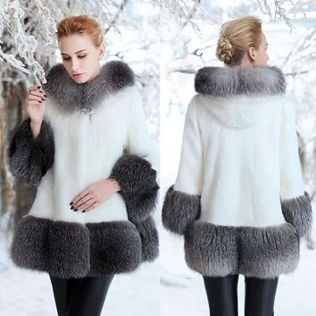 2018 new fur imitation mink fur coat long hat mink coat women's size