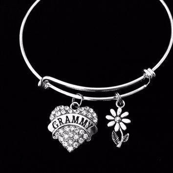 Grammy Expandable Charm Bracelet Rhinestone Heart Adjustable Bangle Grandmother One Size Fits All Gift Daisy