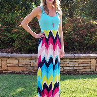 Light & Bright Chevron Maxi Dress - Mint/Multi (S-XL)