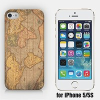 for iPhone 5/5S - Vintage Map - Vintage World - Treasure Map - Old Map - Wanderlust - Travel - Freedom - Adventure - Hipster - Ship from Vietnam - US Registered Brand