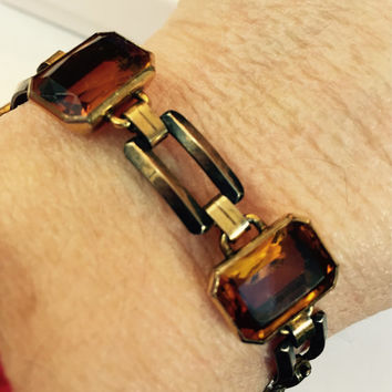 Art Deco Bracelet Vintage Amber Rhinestone Topaz Crystal Glass 10k Gold Filled 40s EB Engel Bros / Antique Estate Wedding Bridal Jewelry
