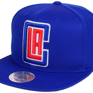 NBA Mitchell & Ness LA Clippers Snapback Cap in Blue