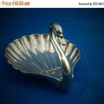 REDUCED Swan trinket dish / ring tray made in silver plate by Seba of England - 1960s  Swan figurine