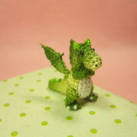 Green Dragon Winged - Tiny Crochet Miniature Dino Stuffed Animals - Made To Order