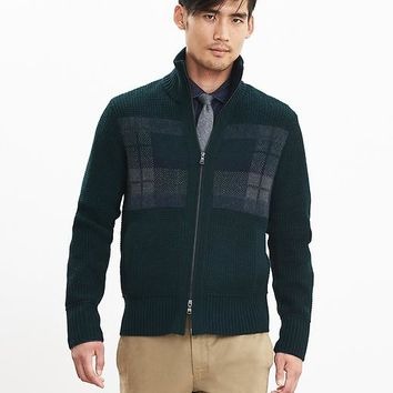 Banana Republic Mens Plaid Sweater Jacket