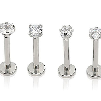 """Stainless Steel Set of Top Screw Off 4 Studs 3mm Cz Studs for Labret Lip Ring Ear Earlet Tragus 16g 1/4"""""""