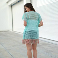 All In for Fringe ~ Lace Cardigan in Mint