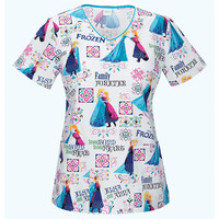 Frozen Scrub Top For Women - Frozen Scrub Top With Anna and Elsa