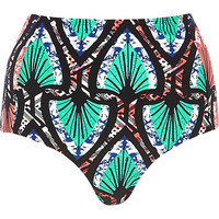 River Island Womens Turquoise tribal high waisted bikini bottoms