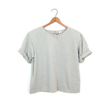 90s Cropped Top Pale Sage Green Tshirt BOXY Cotton Tshirt Vintage Short Sleeve Slouchy Cropped Top Simple Cut Tee Shirt Womens Small Medium