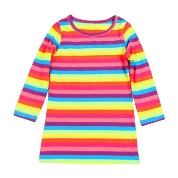 Toddler Baby Girl Kid Autumn Clothes Long Sleeve Party Striped Top T-Shirt Dress