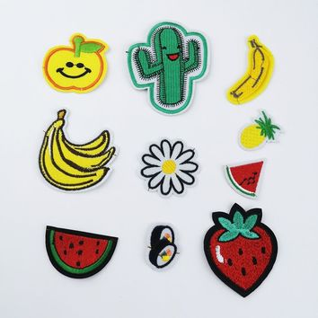 Iron On Patches Flower Strawberry Banana Apple Sushi Watermelon Kids Patches For Clothing Embroidery Badges For Clothes