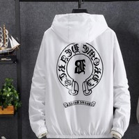 """""""Chrome Hearts"""" Unisex Letter Print Hooded Long Sleeve Thin Windbreaker Couple Sun Protection Clothing  Waterproof Pullover Tops"""