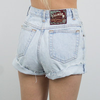 Vintage (Size XS) 1970s Distressed High Waisted Denim Shorts