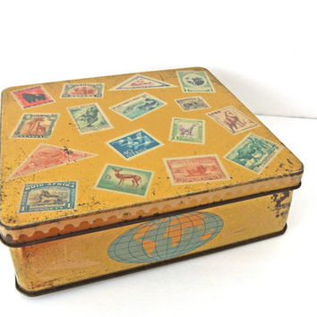Vintage Tin Box. Vintage Tin with a Travel Theme. Collectible Vintage Tin. Collectable. Tin decorated with stamps, ships and planes