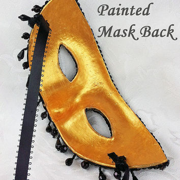 Gold Brocade Masquerade Mask with Gold Trim