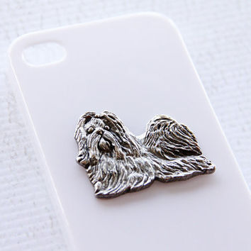 Shihtzu Apple iPhone 4 or 4S Silver Plated White Glossy Plastic Smartphone Cover iPhone 6
