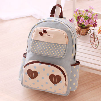 Cute kawaii dot bow love school backpack
